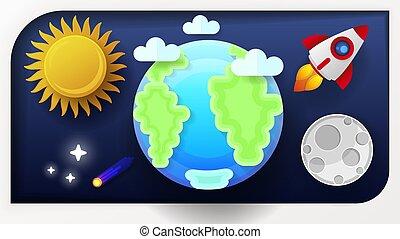 ruimte, zon, illustratie, maan, vector, aarde