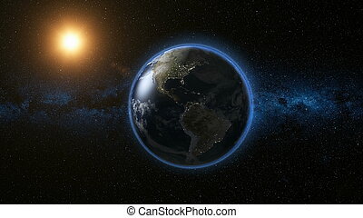 ruimte, zon, planeet, heelal, aarde, aanzicht
