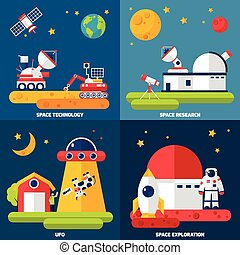 ruimteexploratie, 4, plat, iconen, plein
