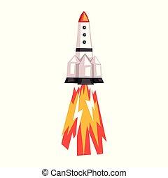 ruimteraket, illustratie, spotprent, vector, achtergrond, witte , scheeps