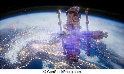 ruimteschip, op, de aarde, gezien, van, space.