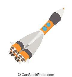 ruimteschip, pictogram, spotprent, raket