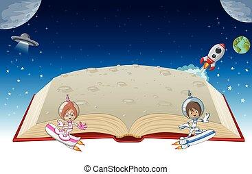 ruimtevaarder, boek, open, spotprent, kinderen