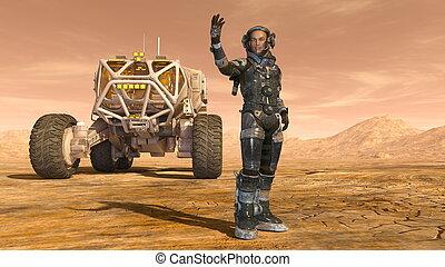 ruimtevaarder, en, een, ruimte, zwerver