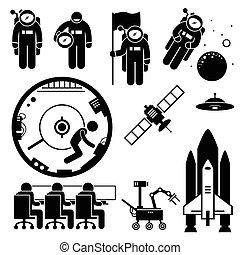 ruimtevaarder, exploratie, clipart, ruimte