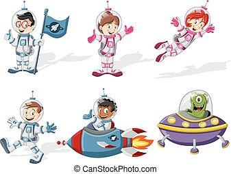 ruimtevaarder, karakters, spotprent