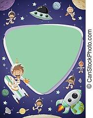 ruimtevaarder, kinderen, space., spotprent
