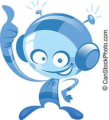 ruimtevaarder, op, alien, duimen, spacesuit, vervaardiging, het glimlachen, spotprent, gebaar, vrolijke