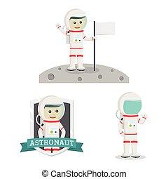 ruimtevaarder, vastgesteld ontwerp, illustratie, mensen