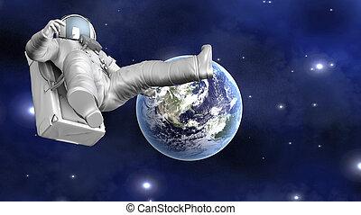 ruimtevaarder, zwevend, ver, van, aarde