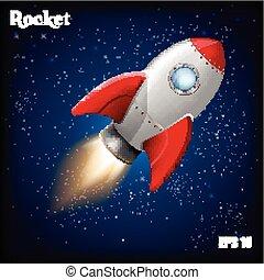 ruimtevaart, raket, innovatie, ontwikkeling, vector, rocket...