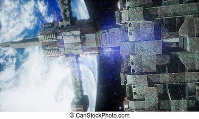 ruimtevaartstation, en, earth., 3d animatie