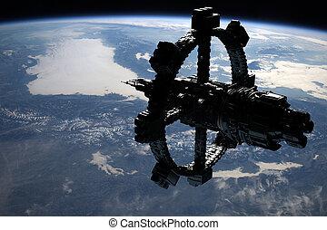 ruimtevaartstation, orbiting, aarde