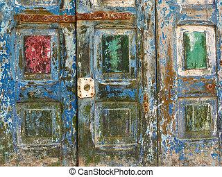 ruin., 古い, 木製である, 抽象的, 板, 背景, 緑, 正方形, 赤, 汚い