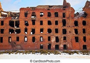 ruin, efter, krig, in, volgograd