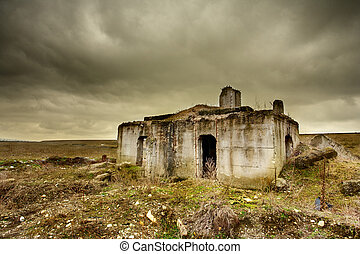 Ruin - Landscape with a decrepit ruin of a building under ...