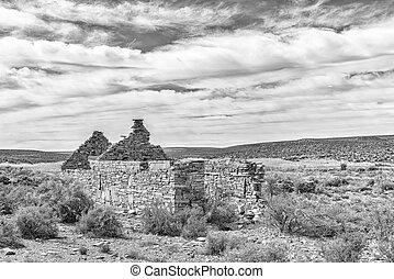 Ruin near Middelpos. Monochrome