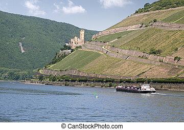Ruin of castle Ehrenfels near Ruedesheim in the Rheingau, Hesse, Germany