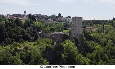 Ruin of castle in Croatia, with reconstruction scaffold, ...