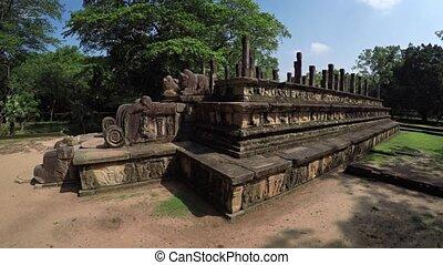 Ruin of King Nissankamalla's Council Chamber in Polonnaruwa...
