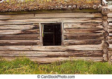 Ruin of old log cabin