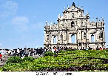 Ruin of St. Paul, Macau with blue sky