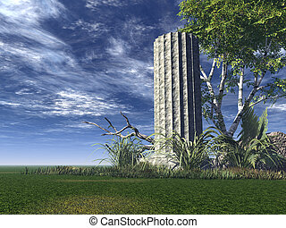 ruin of temple - antique column with tree - 3d illustration