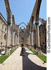 Ruin of the Igreja do Carmo church in Lisbon, Portugal