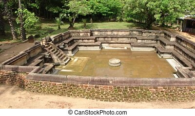 Ruin of the Royal Baths in Polonnaruwa. FullHD 1080p video -...
