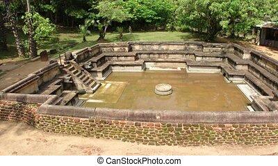 Ruin of the Royal Baths in Polonnaruwa. UltraHD 4k video - ...