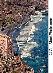 ruin on the ocean shore