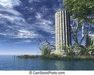 ruin - old pillar at the ocean - 3d illustration