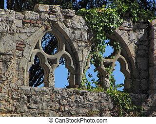 ruin, window,