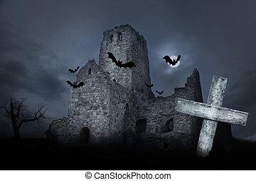 ruina, con, murciélagos