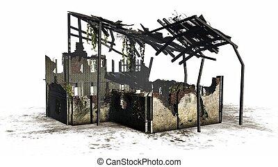 ruina, destruido, -, edificio