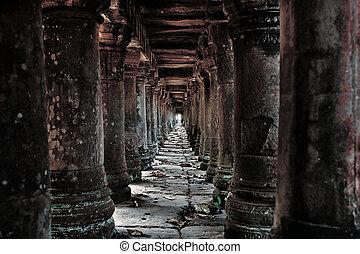 ruinas, camboyano, templo