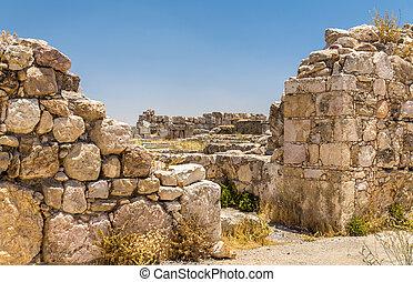 ruinas, de, el, amman, ciudadela