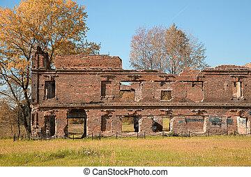 ruinas, de, pueblo viejo, en, el, otoño, parque