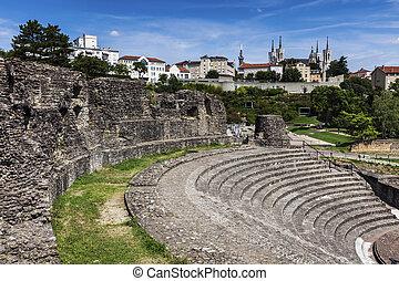 ruinas, de, romano, teatro, en, lyon