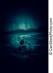 ruinas, lugar, cráneo humano