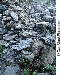 ruinas, piedras, edificio, desplomado
