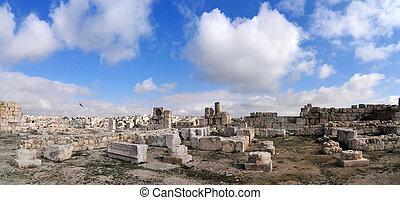 ruinas romanas, de, ciudadela, -, amman, jordania