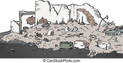 ruinas, vector, calle, ilustración