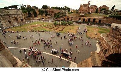 ruine, von, römisches forum, bogen, von, constantine, an,...
