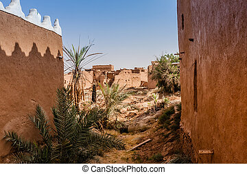 Ruined and abandoned houses of the traditional Arab mudbrick architecture in Riyadh Province, Saudi Arabia