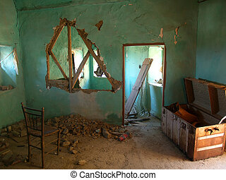 Ruined and destroyed house in the village Volissos of Chios Island in Greece