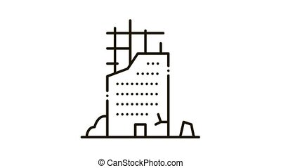 Ruined Building Icon Animation. black Ruined Building animated icon on white background