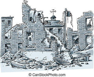 Ruined Buildings - A cartoon scene of ruined buildings.