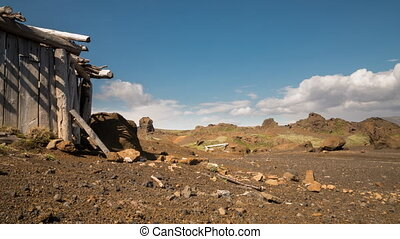 Ruined cabin - Time-lapse view of abandoned shack in...