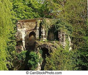 Ruined castle in Leuvin, Belgium